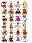 24 x Teddy Bear Edible Wafer Paper Cupcake Toppers